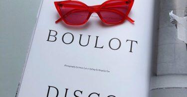 Colored red cat eye sunglasses women.