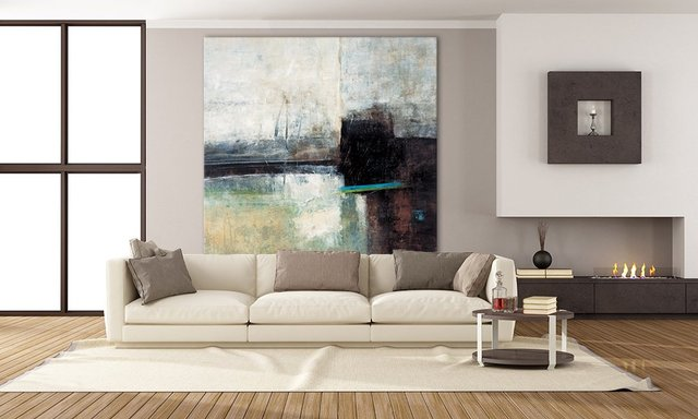 Composure II. Giant Abstract Art Print on Canvas. 84 x 84 inches.