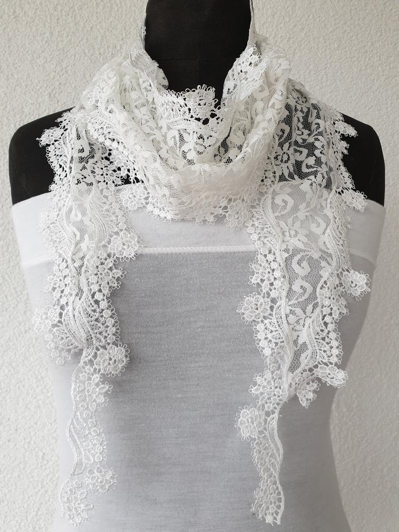 Creamy White Lace Floral ScarfBohemianGift for herWedding
