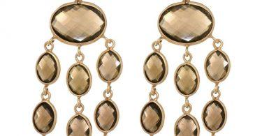 Dangle Earrings Gemstone Smoky Topaz Chandelier Hand Made