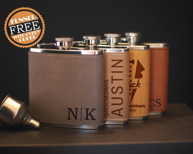 Engraved Flask For Groomsmen Groomsman Flask Set