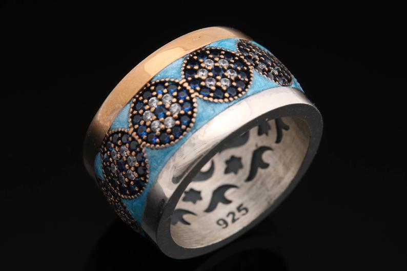 Evil Eye Turkish Nazar Handcrafted 925 Sterling Silver