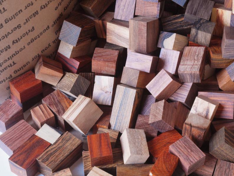 Exotic Wood Scraps  250pc.  Mix
