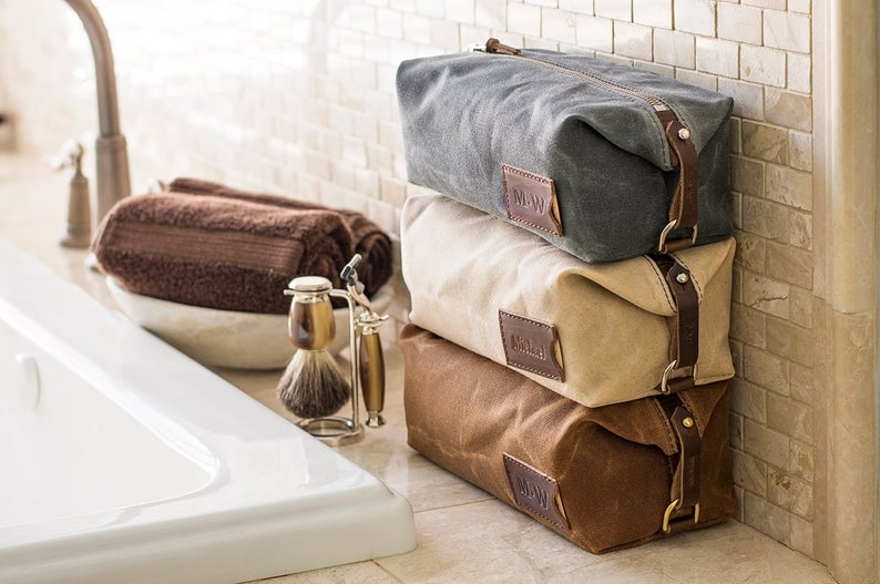 Expandable Waxed Canvas Dopp Kit Personalized Mens Toiletry