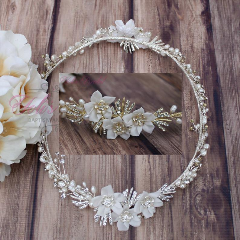 FAST Shipping Bridal Halo Bridal Wreath Swarovski Halo