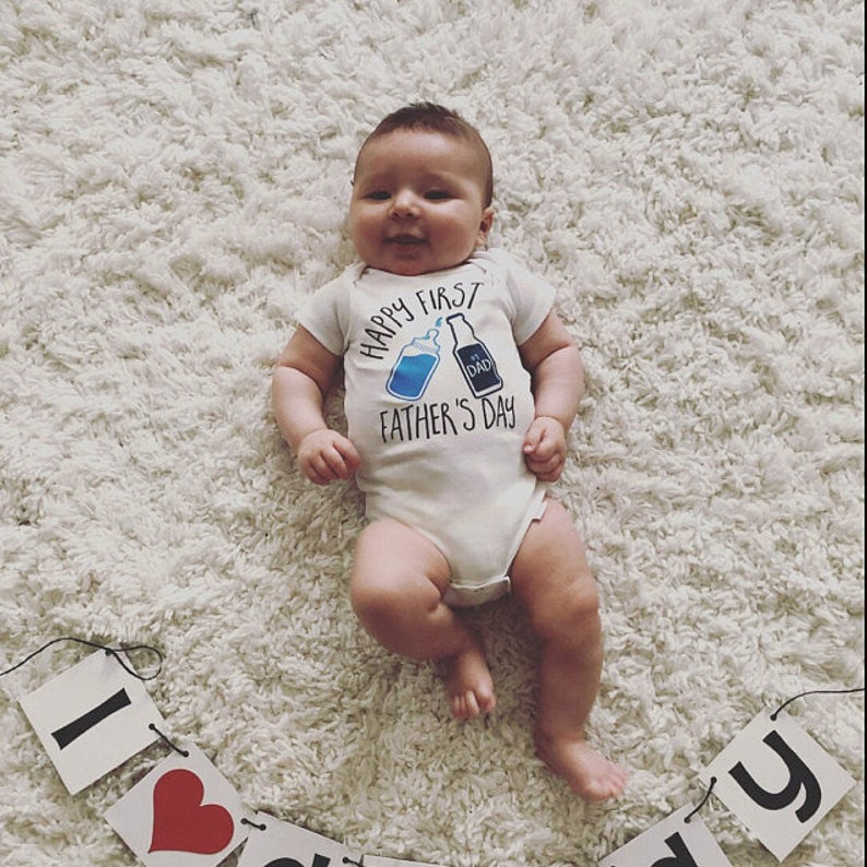 First Father's Day Onesies Bodysuit Pregnancy