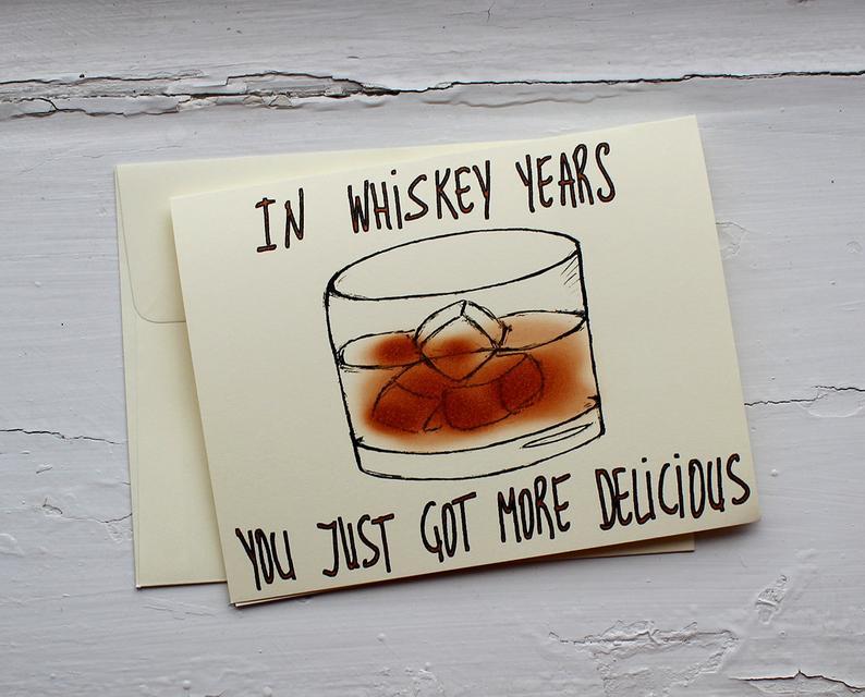 Funny whiskey birthday card for dad or mom  whiskey birthday