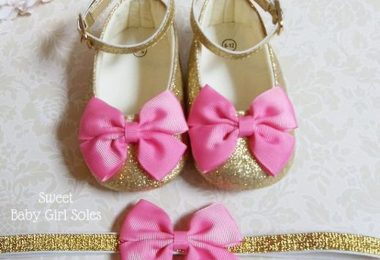 Gold Baby Shoes  First Birthday Outfit Girl Hot Pink  Hot