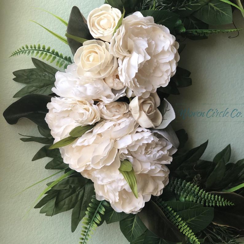 Grapevine Wreath Peony Wreath Door Wreath Wreath Natural