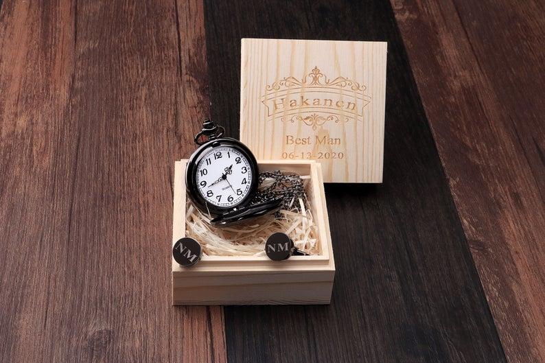 Groomsman Pocket Watch Gift Set Groomsmen Gift Set Cufflink