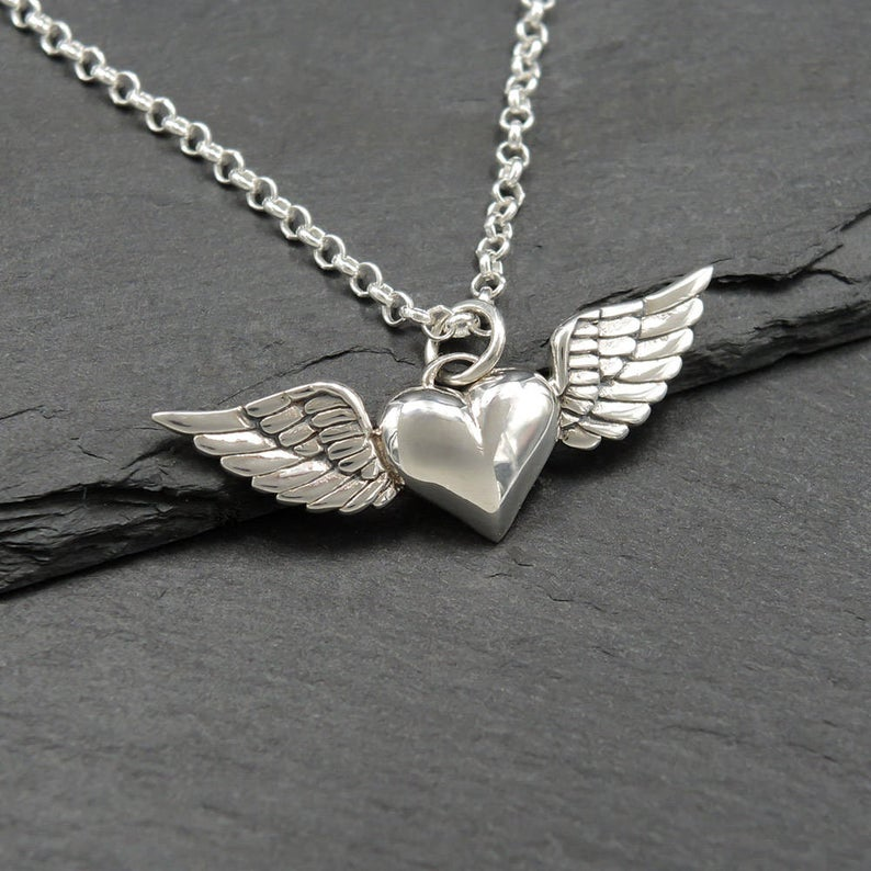 Heart With Wings Necklace  Sterling Silver Winged Heart