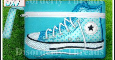 High Top Shoe Zippered Bag 5×7 xxx vip pes jef hus exp dst