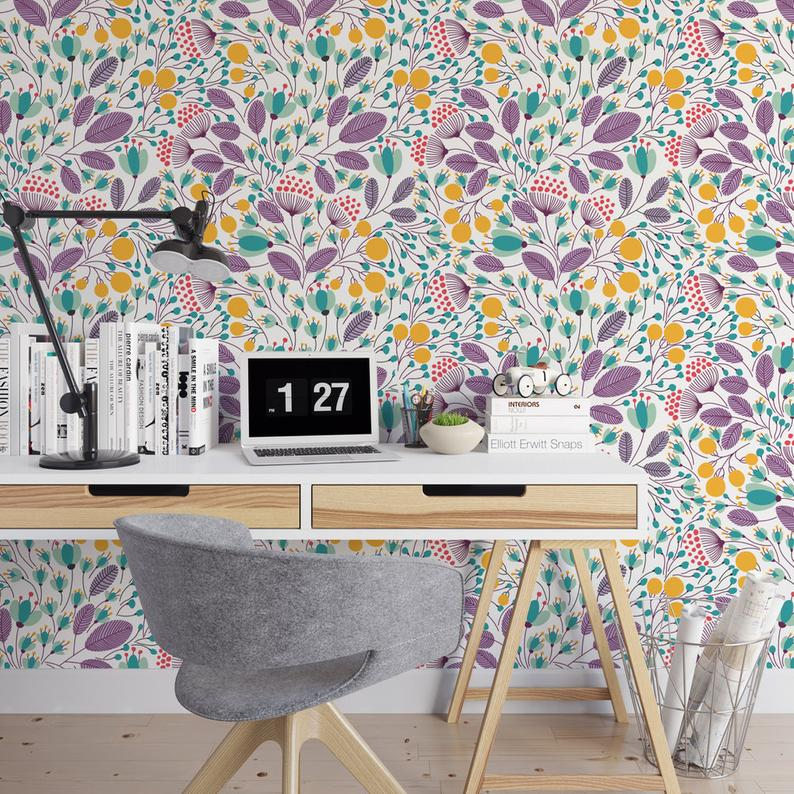 Illustrated Floral Removable Wallpaper B138-27