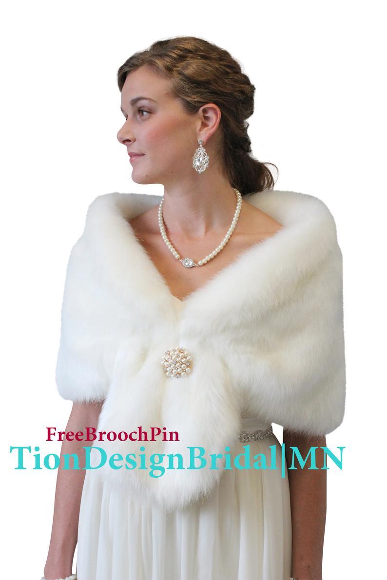 Ivory faux fur bridal wrap wedding fur shrug fur wrap