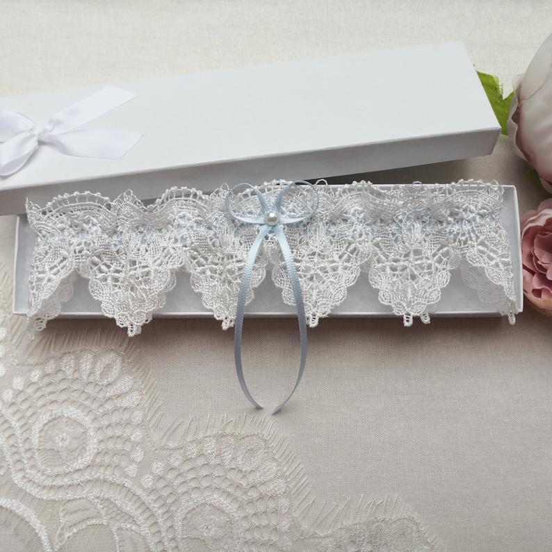 Ivory venise lace wedding garter blue bridal garter