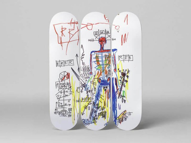 Jean-Michel Basquiat  Skateboard Triptych Robot (1984)