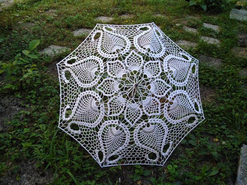 Lace Parasol Crochet Wedding Umbrella White  Victorian
