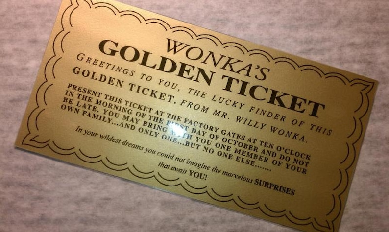 Laminated: Willy Wonka Golden Ticket  Replica  Measures 6