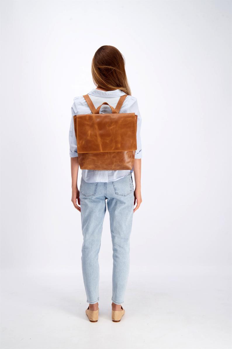 Leather Backpack Women Laptop Backpack Bag Messenger