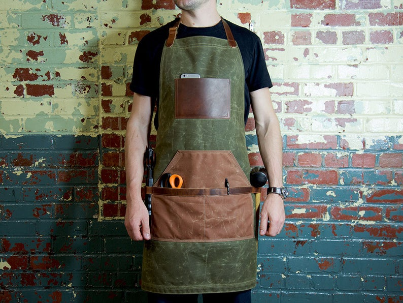 Leather and Canvas Apron Barber Apron Waxed Canvas Apron