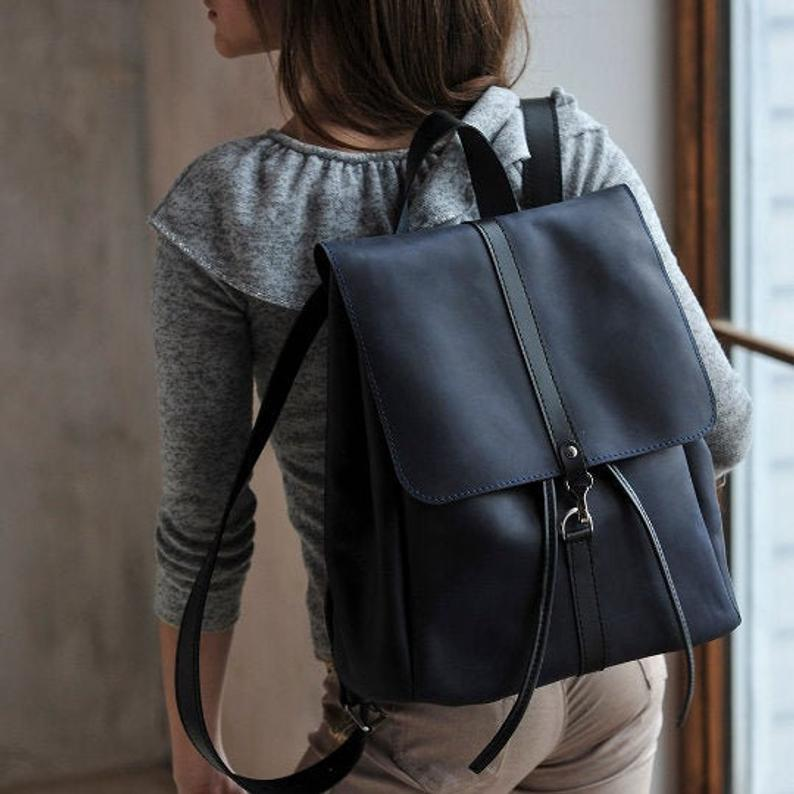 Leather backpack men Womens backpacks Black backpack Men