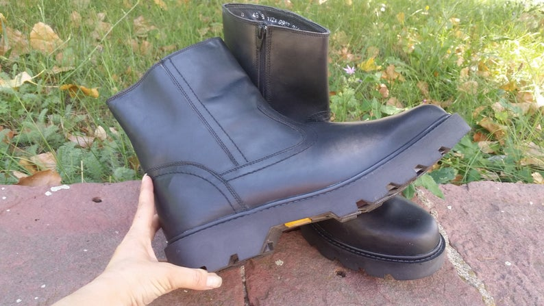 Leather boots Mens combat boots Military boots Military