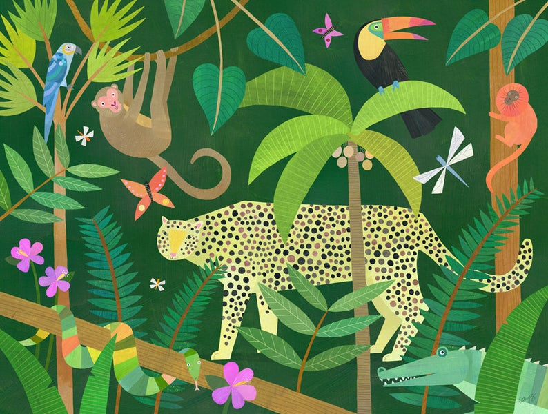 Leopard in the Jungle  Nursery Art Print Jungle Animal Art