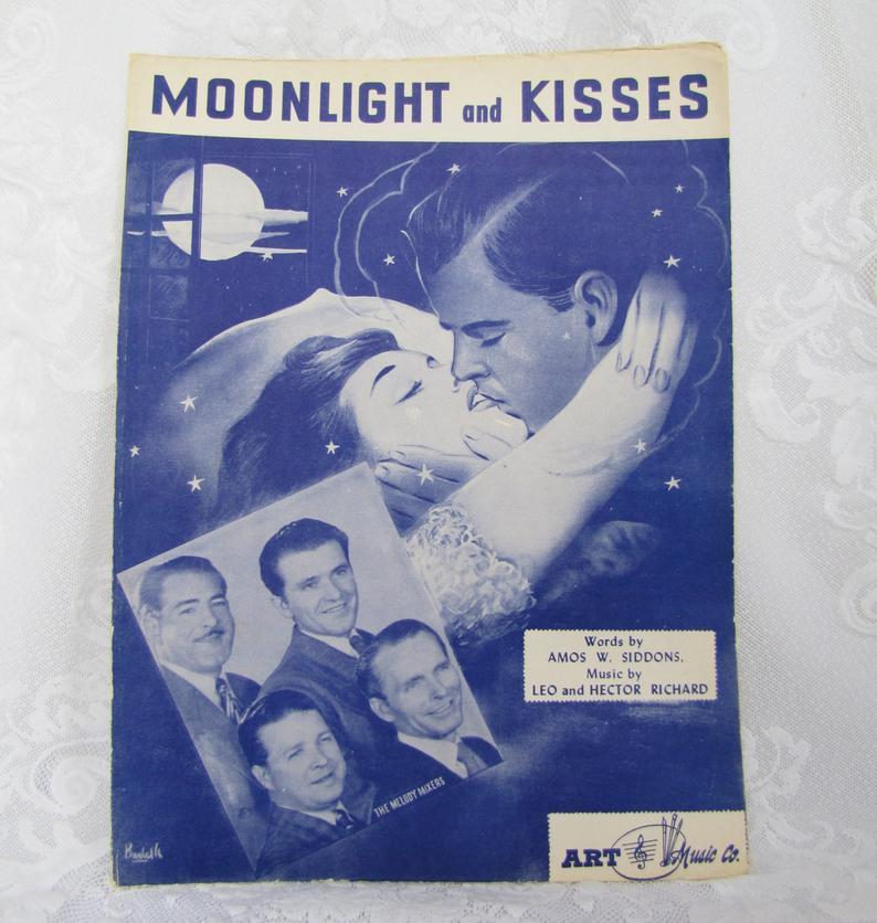 Moonlight and Kisses Antique Piano Sheet Music by Leo and