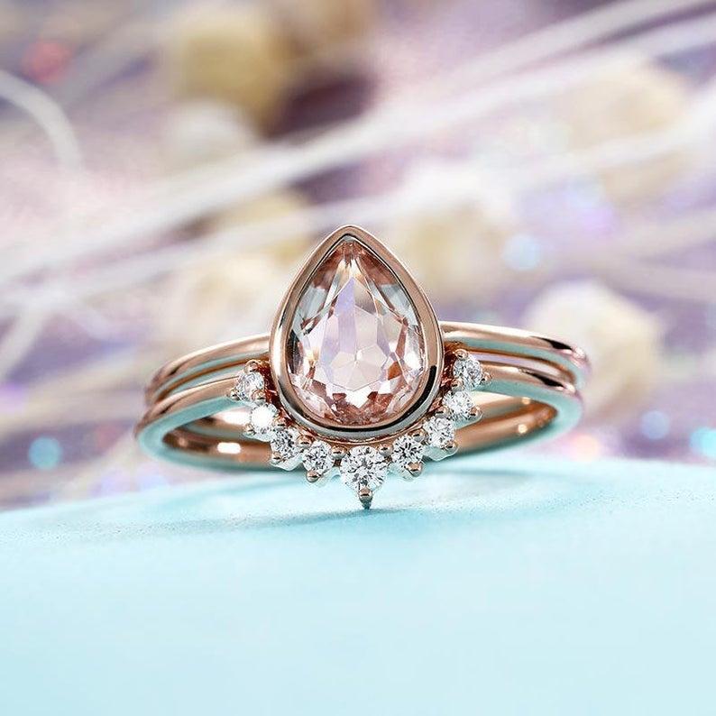 Morganite Engagement Ring Vintage Rose Gold Diamond Wedding