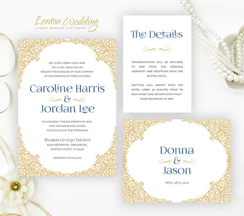 PRINTED  Gold and navy wedding Invitations sets  Victorian