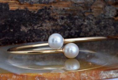Pearl bracelet freshwater-14 K Yellow Gold-Bridal