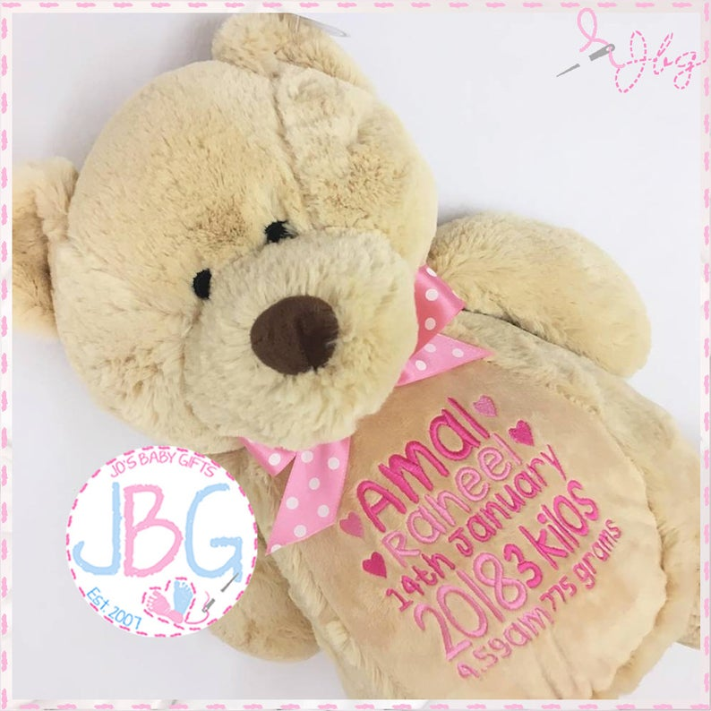 Personalised teddy bear embroidered bears personalised baby