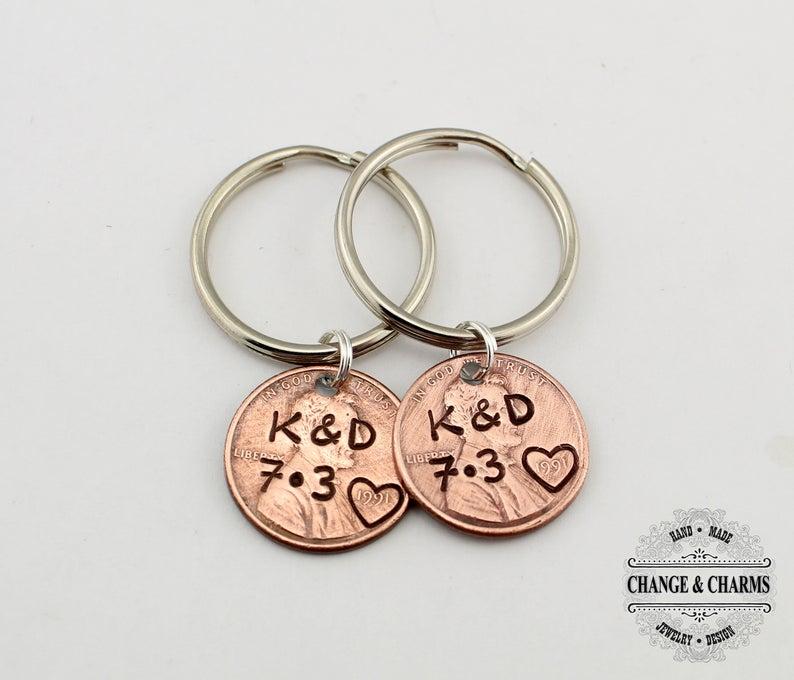 Personalized Lucky Penny Keychain Girlfriend Boyfriend