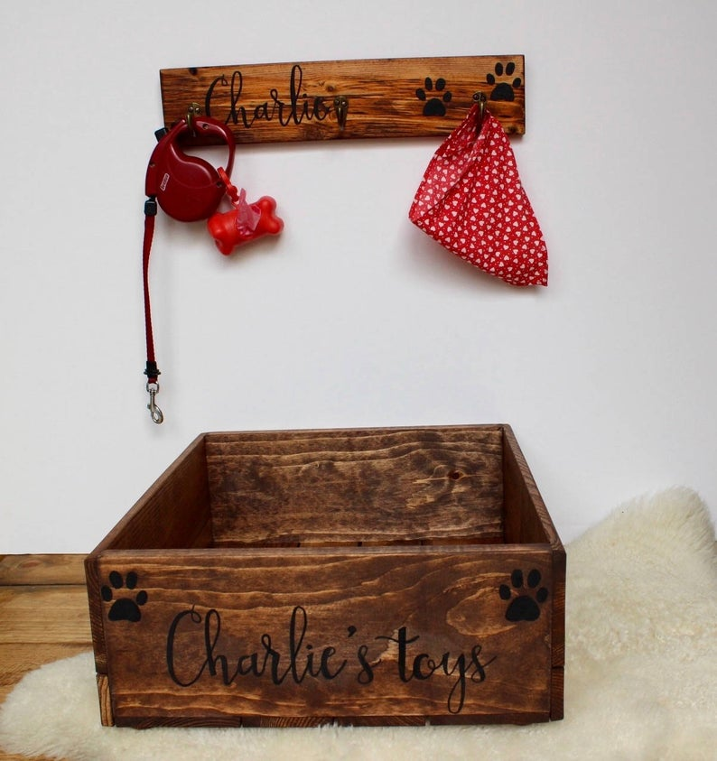 Pet Toy Box and Leash Holder Dog toy box cat toy box