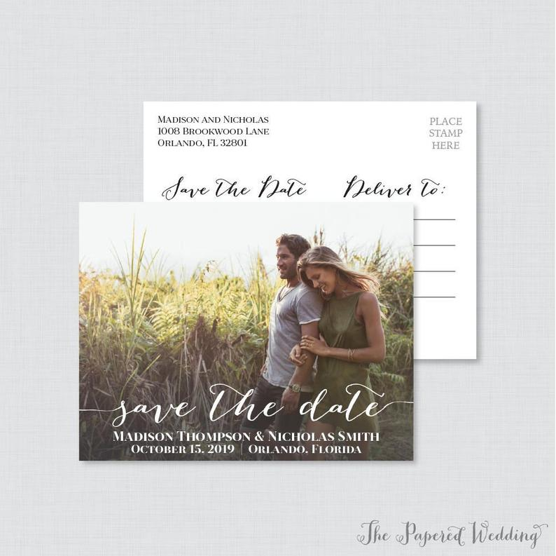 Printable OR Printed Photo Save the Date Postcards  Photo