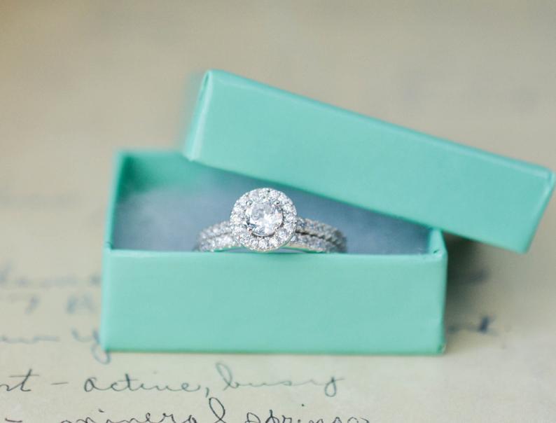 Round Halo Ring  Sterling Sliver Ring  Engagement Ring Set