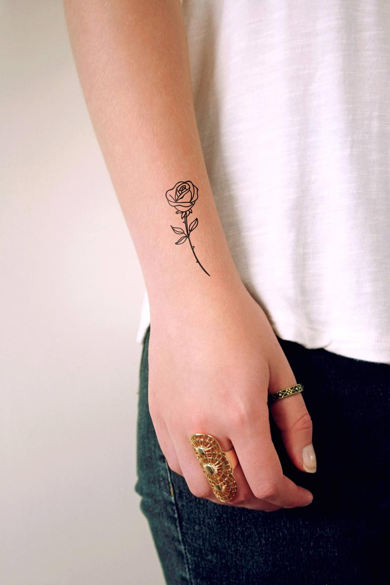 Small rose temporary tattoo / small temporary tattoo / floral