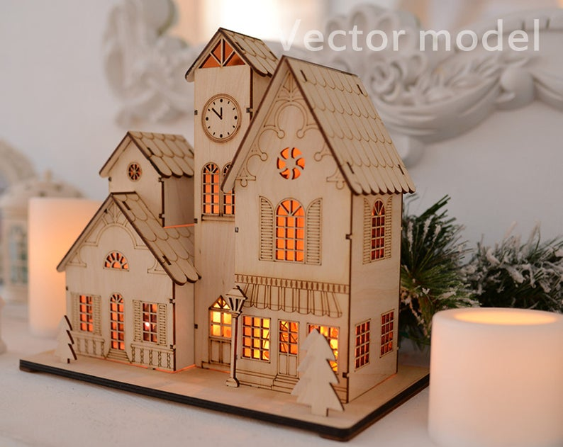Souvenir house in European style drawing laser cut vector