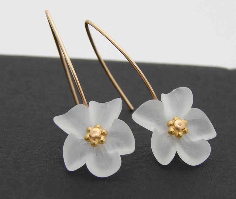 Spring Frost White Lucite Earrings Gold Filled or Sterling