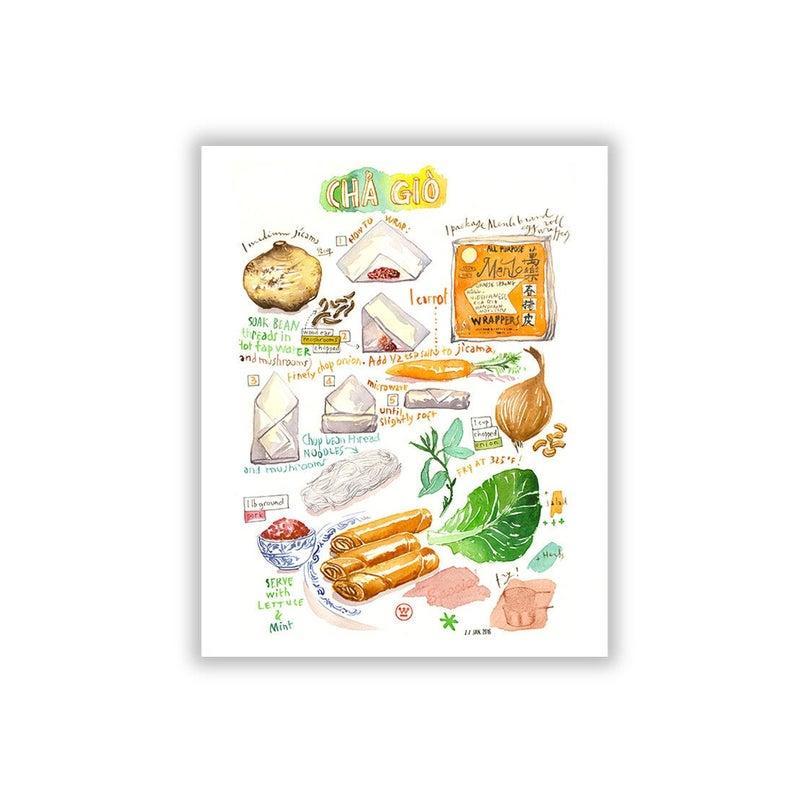 Spring roll recipe illustration print Vietnamese food art