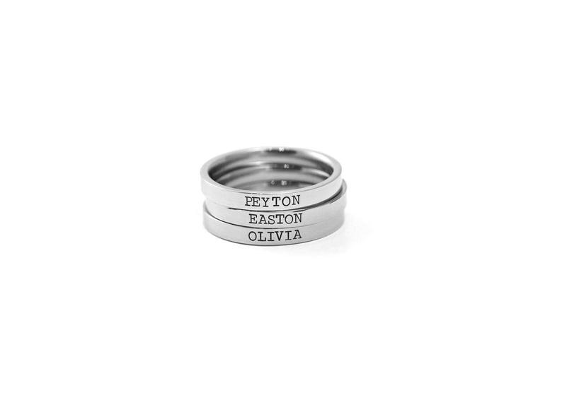 Stamped Name Ring  Engraved Stacking Rings  Hand Stamped