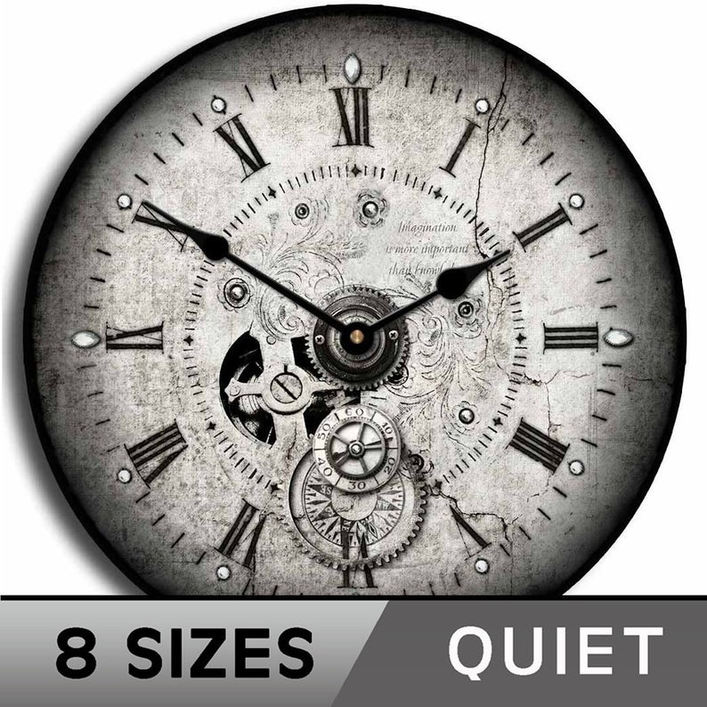 Steampunk Wall Clock Whisper Quiet Comes in 8 sizes
