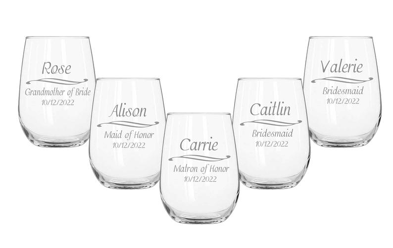 Stemless Wine Glasses Personalized Bridesmaids Gifts