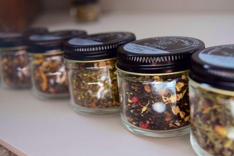Tea Trio  ORGANIC Loose Leaf Tea Samplers  Beautiful Glass