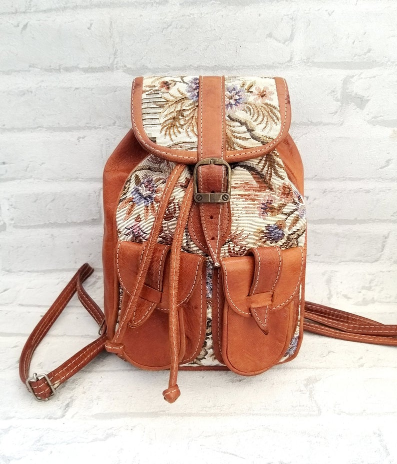 Travel Gift small leather backpack Vintage back to school