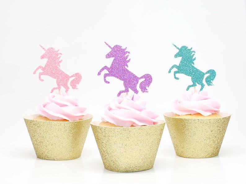 Unicorn Cupcake Toppers  Glitter  First Birthday Decor.