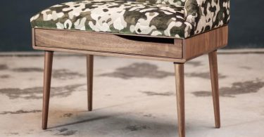 Upholstered bench / Stool / Seat / Ottoman / in oak / walnut
