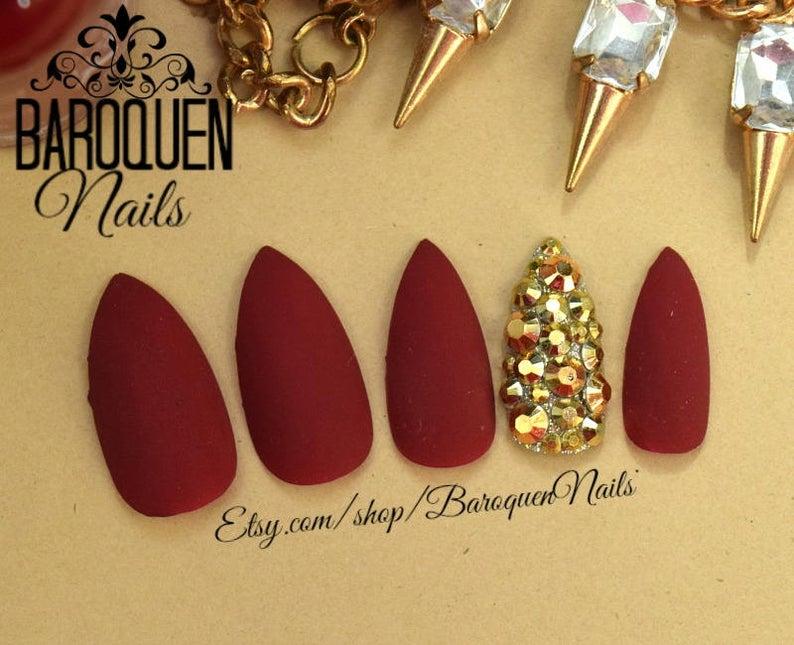 Velvet  Matte Burgundy Red Press On Nails Maroon Nail Set