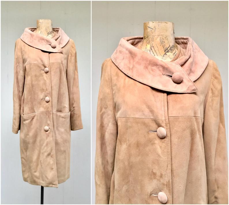 Vintage 1960s Golden Brown Suede Coat 60s Mod Outerwear Slim