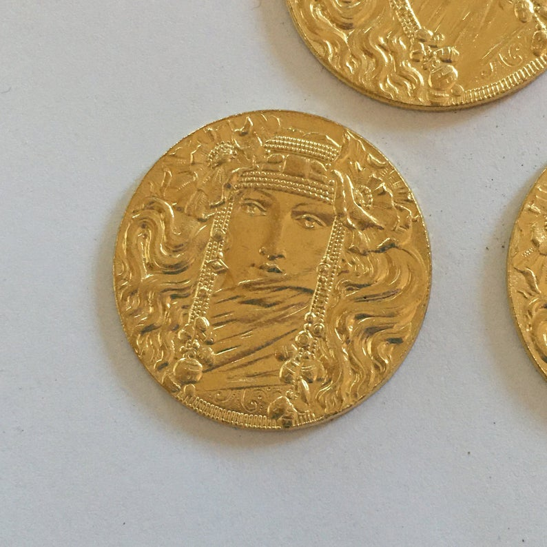 Vintage French Stampings1 PcRARE Mystic Egyptian Goddess